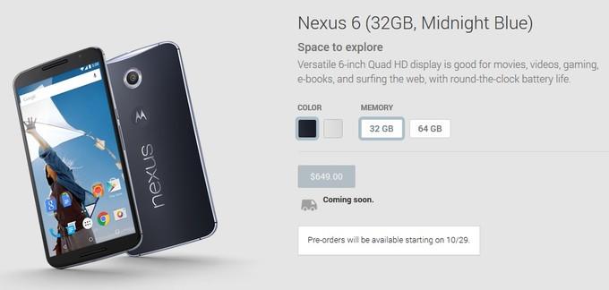 Google-Nexus6の北米予約は10月29日からに決定、日本は不明
