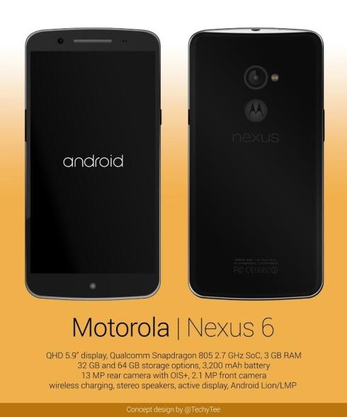 【Nexusスマートフォン】Motorola製「Nexus6」はこうなるかも?レンダリング画像を公開