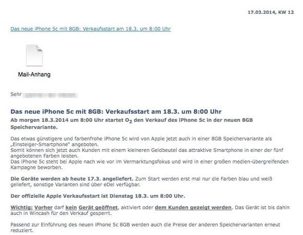 iPhone5cの8GBモデルがドイツの携帯電話キャリアO2から発売するかもしれない。