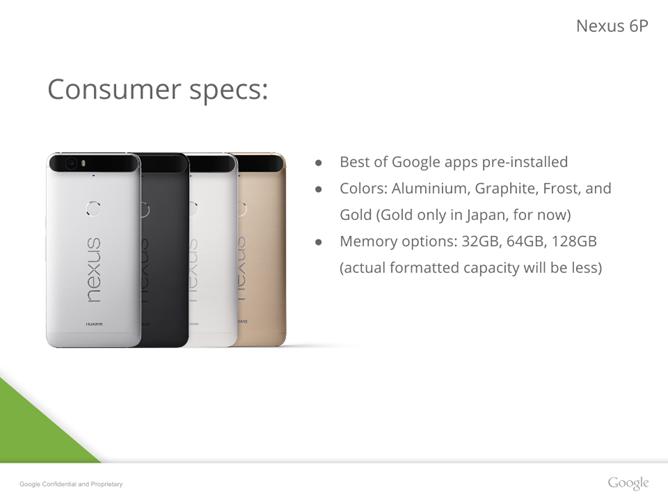 Google Nexus 6Pの資料が流出、日本限定カラーも存在