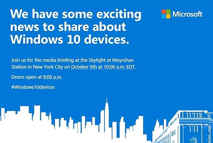 Microsoft、10月6日にプレスイベントを開催-Surface Pro 4 / Microsoft Band 2など?