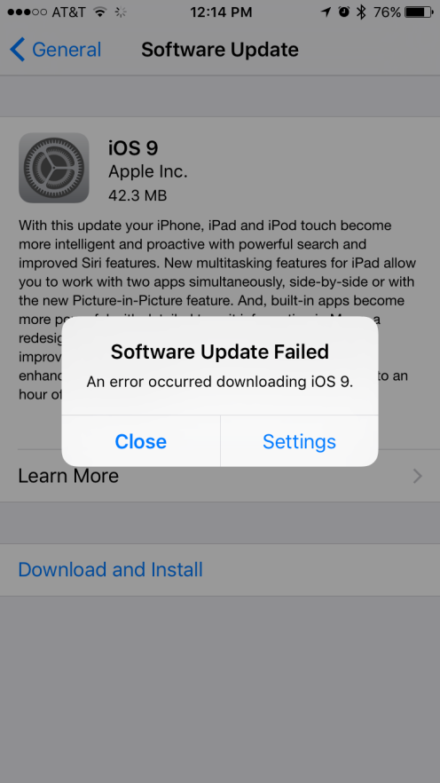 Apple,iOS 9.0にインストール上での不具合が発生