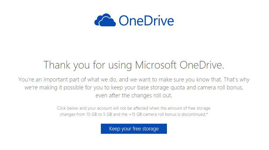 Microsoft、「OneDrive」の無料ユーザー向けに申し込みで15GBが継続利用可能に