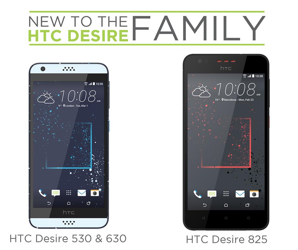 【MWC 2016】HTC、ミッドレンジスマートフォン「Desire 530 / 630 / 825」を発表