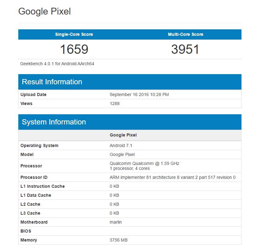 Google Pixel XLの一部スペックがGeekbenchで公開