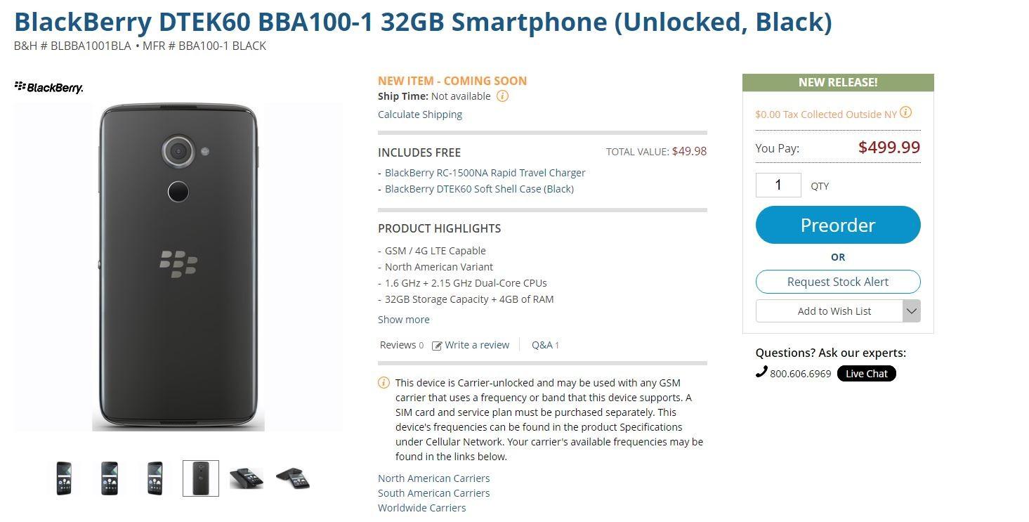 BlackBerry 未発表モデル「DTEK60」の先行予約が米国のショップで開始-499.99ドル(約5.1万円)