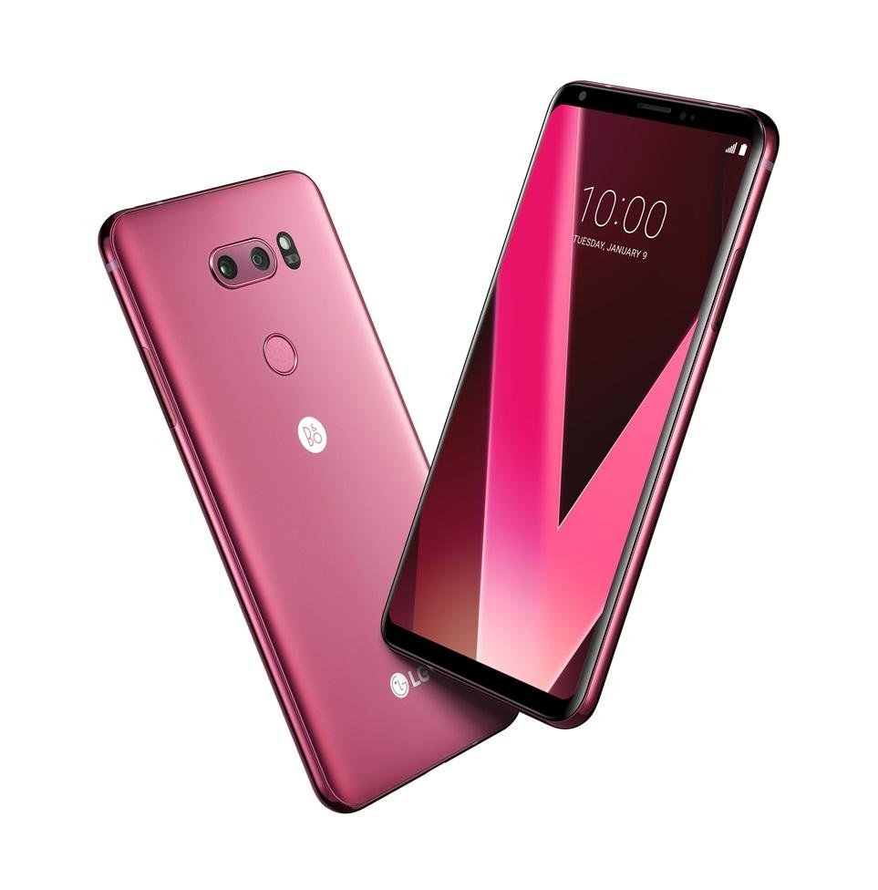 「LG V30」に新色のラズベリーローズを追加