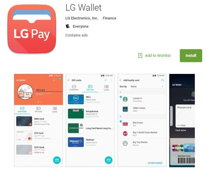 Google Play ストアにLG G7に対応した「LG WALLET」アプリが一時リリース